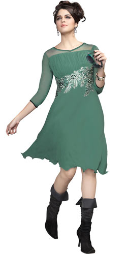Fabulous Pastel Green Coloured Kurti with Georgette Embroidery Design