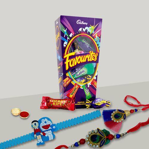 Pleasurable Bhaiya Bhabhi Rakhi with Doremon Kid Rakhi with Mix Cadbury Chocolates