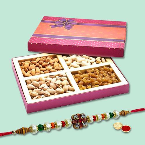 Beauteous Bandhan Rakhi With Mix Dry Fruits, Set Of Roli Chaval
