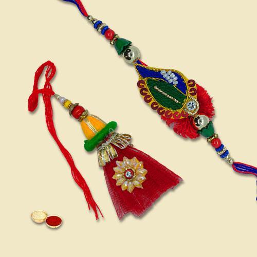 Elegant Red Zardozi Bhaiya Bhabhi Rakhi Lumba Set
