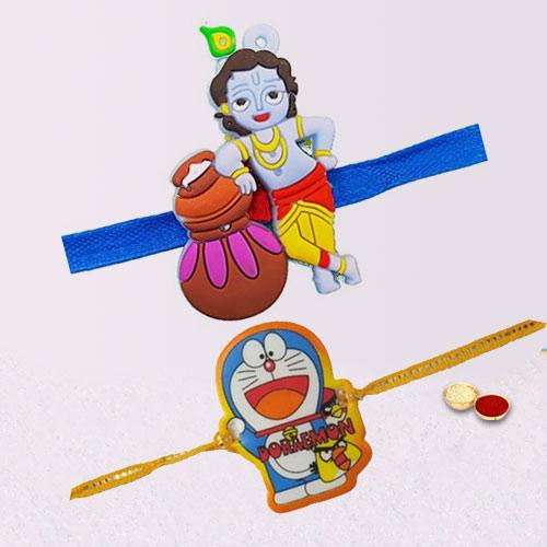 Stylish Kids Design Duel Rakhi Set