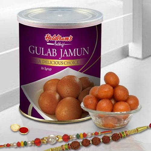 Attractive Selection of 2 Rakhis with Gulab Jamun