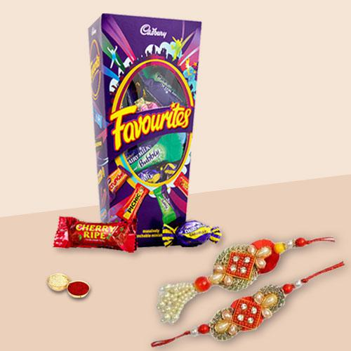 Charismatic Bhaiya Bhabhi Rakhi Lumba Set with Cadbury Favourite Chocolate Pack