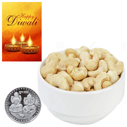 Nutritious Cashews With Silver Plated Coin And Diwali Card
