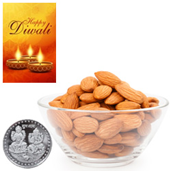 Nourishing Almonds With Silver Plated Coin And Diwali Card