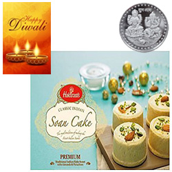Scrummy Soan Cake From Haldiram With Silver Plated Coin And Diwali Card