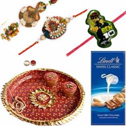 Impressive Combo of Family Rakhi Set With Rakhi Thali N Lindt Chocolate