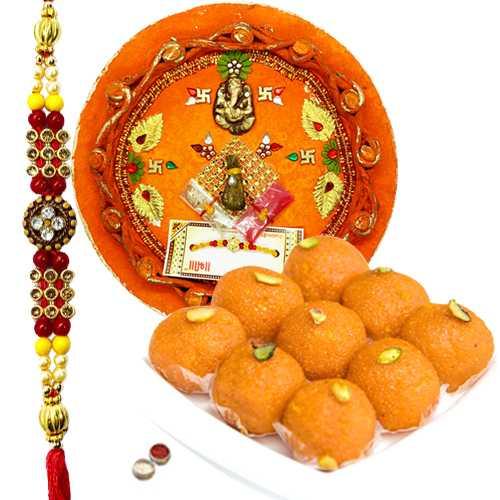 Boondi Ladoo Thali with Rakhi