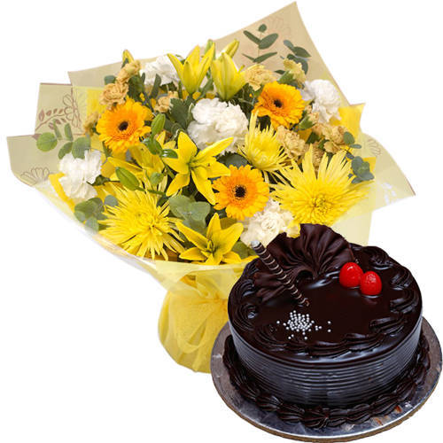 Delightful Combo of Mixed Flowers Bunch with Chocolate Truffle Cake