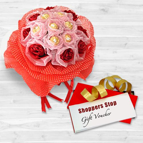 Mind Blowing Combo of Shoppers Stop Gift Voucher worth Rs.1000, Red Roses N 8 Pc. Ferrero Rocher Bouquet