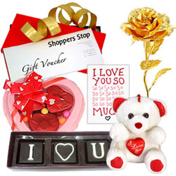 Gift of Shoppers Stop Vouchers, Heart Shape Chocolates  N  Golden Rose