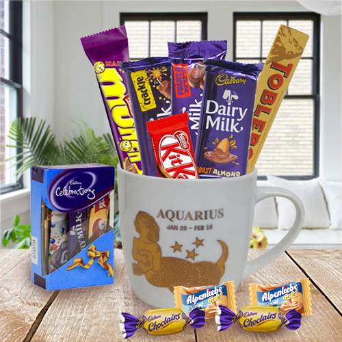 Sensational Chocolates and Mug with Aquarius Astrological Sign Print Gift Set