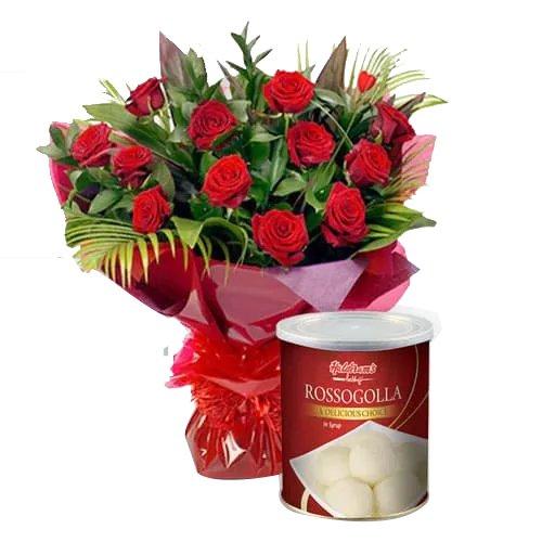 Gorgeous 12 Red Roses and 1 Kg. Haldiram Rasgulla