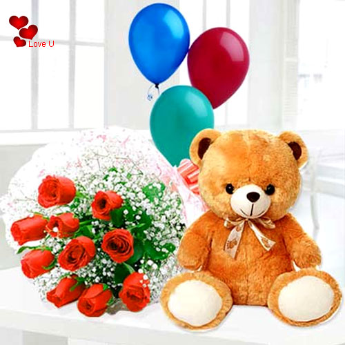 Order Online Red Roses, Balloons N Teddy for Hug Day