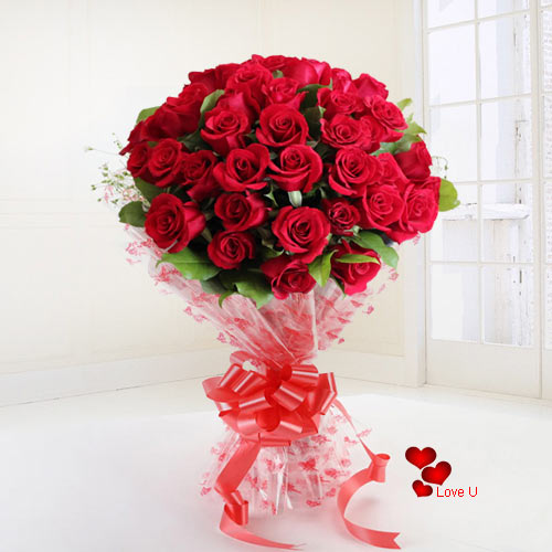 Gift Red Roses Bouquet for V-Day