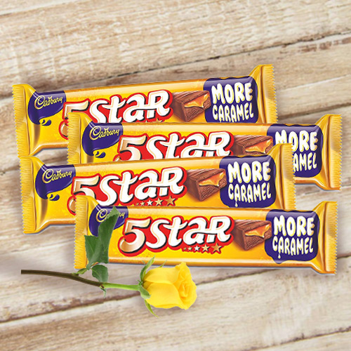 Cadburys 5 Star with One Yellow Rose