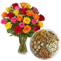 1 Kg. Assorted Dry Fruits with Bouquet of 24 Mixed Colour Roses