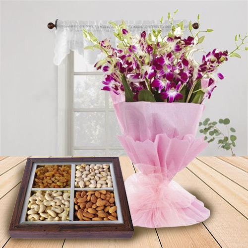Striking B Day with Orchids Bouquet N Dry Fruits
