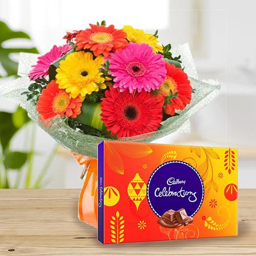 Birthday Styled Bouquet of Mixed Gerbera with Cadbury Celebration Chocolates
