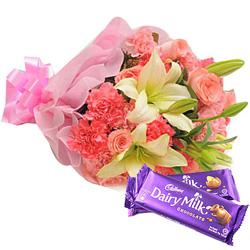 Anniversary Exciting Combo Pack of Mixed Flowers Bouquet and Cadbury Chocolates