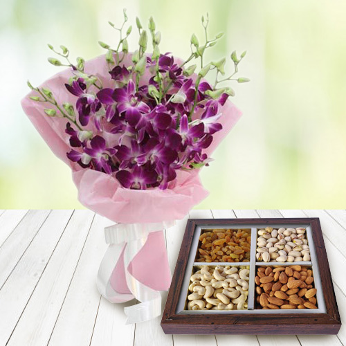Anniversary Stunning Orchids Bouquet with Beautifully Packed Dry Fruit