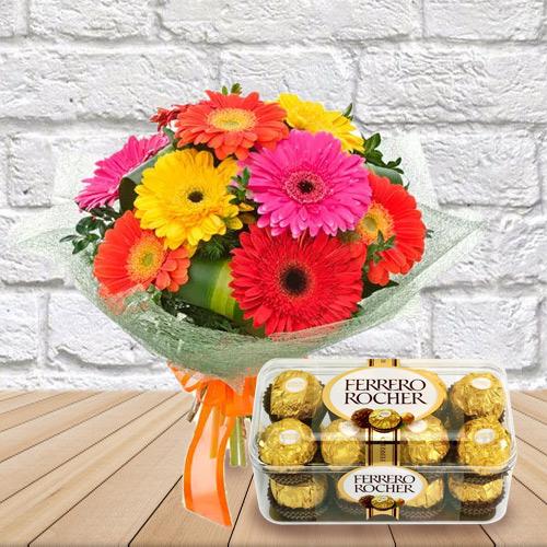 Anniversary Creative Bouquet of Mixed Gerbera and Favorite Ferrero Rocher Chocolates