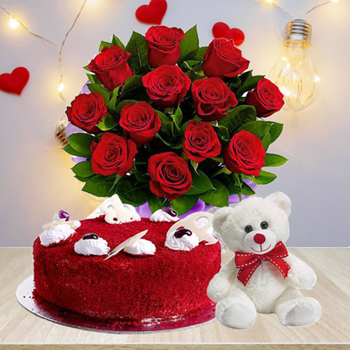 Mouth-Watering Red Velvet Cake with Red Roses Bouquet N Teddy