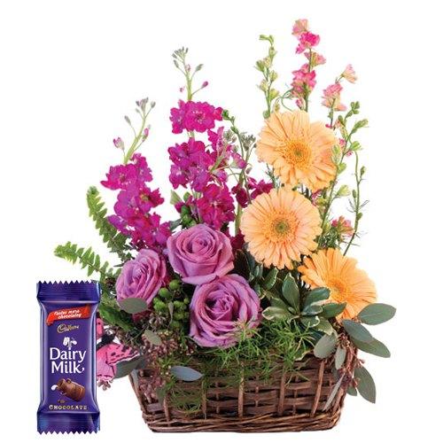 Elegant Assorted Blooms Bundle with Cadburys Dairy Milk Chocolate