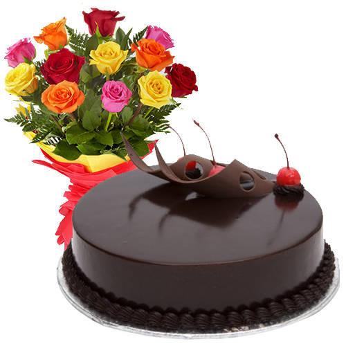 Stylish 12 Mixed Roses with 1/2 Kg Chocolate Cake