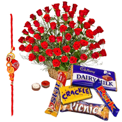 Breathtaking 24 Red Roses and Collection of Cadburys Chocolates