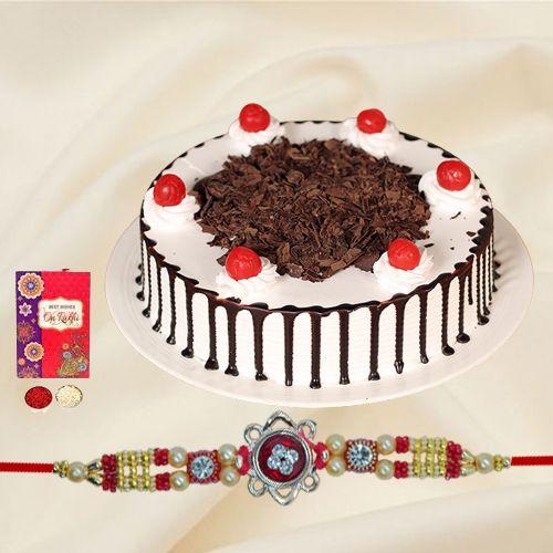 Fancy Beaded Rakhi with Yummy Cake
