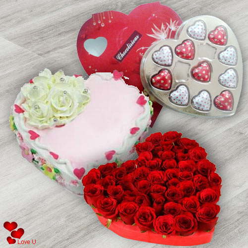 Shop Online for Cake Chocolates N Roses for Rose Day
