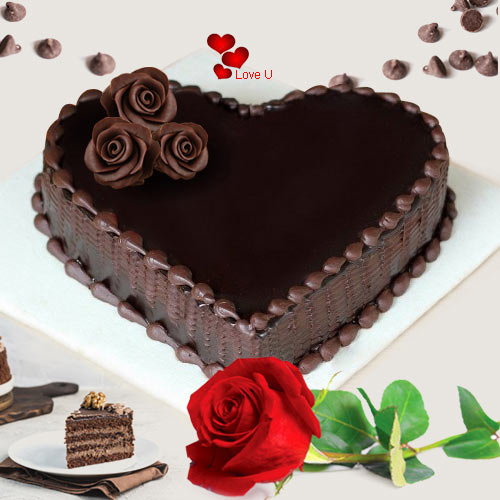 Order Chocolate Cake N Single Red Rose for Rose Day