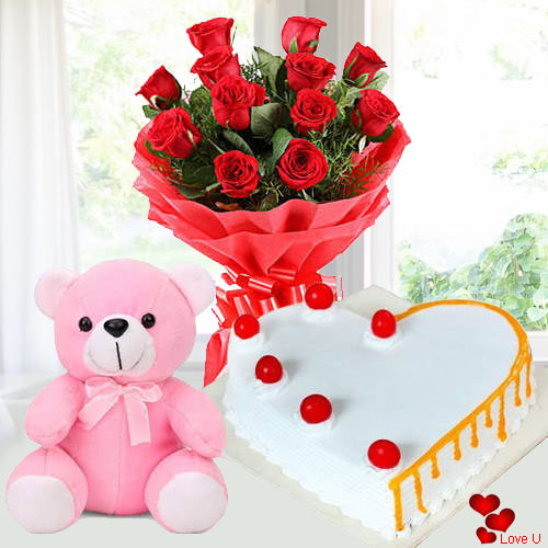 Deliver Rose Day Combo of Red Roses, Teddy N Cake