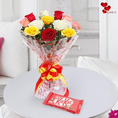 Deliver Combo Gift of Mixed Roses N Kit Kat