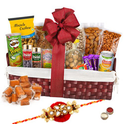 Greed�s Thrill Dry Fruits Assemblage with One Rakhi and Roli Tilak Chawal