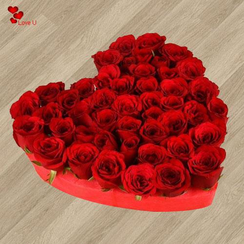 Gift Heart Shaped Arrangement of Dutch Roses Online