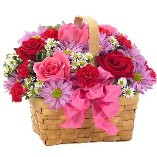 Classic Beauty Basket of Blushing Flowers