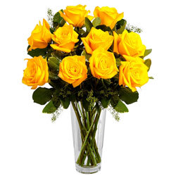Quintessence Yellow Roses in a Vase