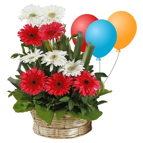 Expressive Sunshine Mixed Gerberas Bouquet and Balloons
