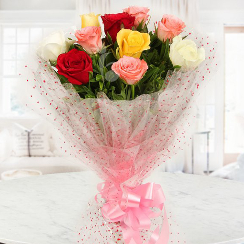 Artistic Love in the Air Mixed Roses Bouquet