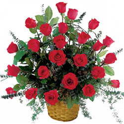 Special Love Basket of Red Roses