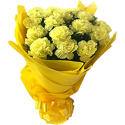 You can shop online for a fresh Hand Bouquet of Yellow Carnations Online in tissue wrapping