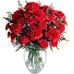 You can shop online for ravishing Red Carnations in a glass vase