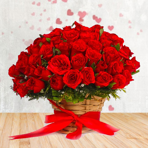 Gorgeous Selection ofRed Roses surrounded with White Fillers