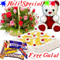 Nicely Gift Wrapped Mixed Roses Basket with Teddy Chocolate and Pineapple Cake 1 lb from Best Local Bakery with free Gulal/Abir Pouch.