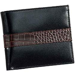 Genuine Leather Black Leather Wallet from Leather Talks for Men with Chris Brown Shaded Crocodile Skin Styled Patch