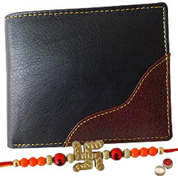 Rich Born�s Riveting Gents Leather Wallet with 1 Free Rakhi, Roli Tilak and Chawal