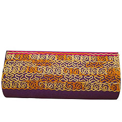 Attractive Embroidered Purple Leather Clutch Bag For Ladies from Spice Art