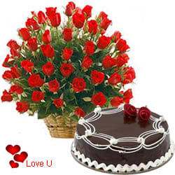<u><font color=#008000> MidNight Delivery : </FONT></u>:50 Dutch Red Roses Basket with Black Forest Cake.